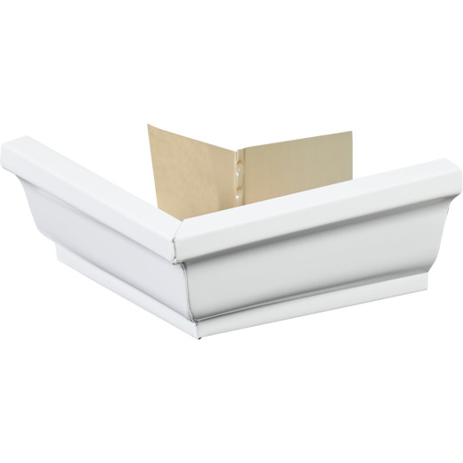 Spectra Metals 5 In. Aluminum White Mitre Gutter Outside Corner