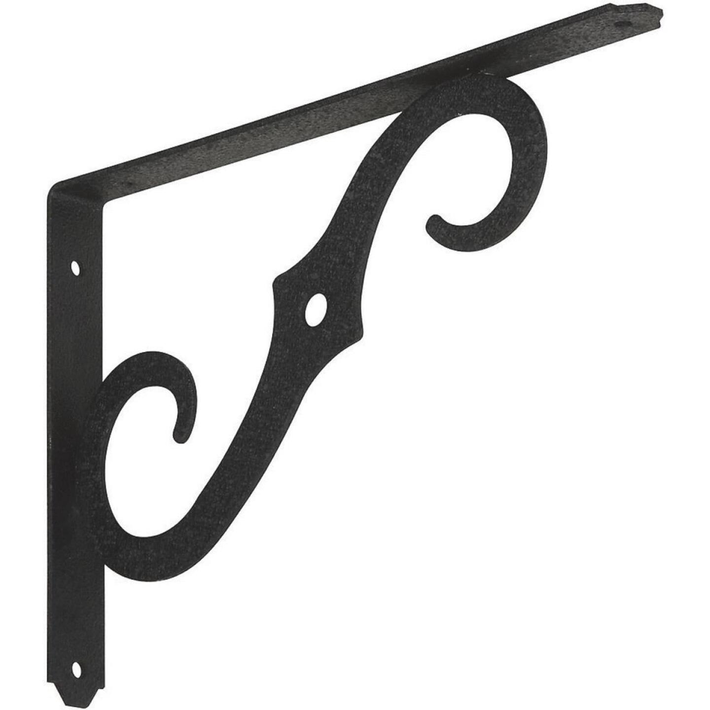 National 152 10 In. D. x 7 In. H. Black Steel Ornamental Shelf Bracket/Plant Hanger Image 1
