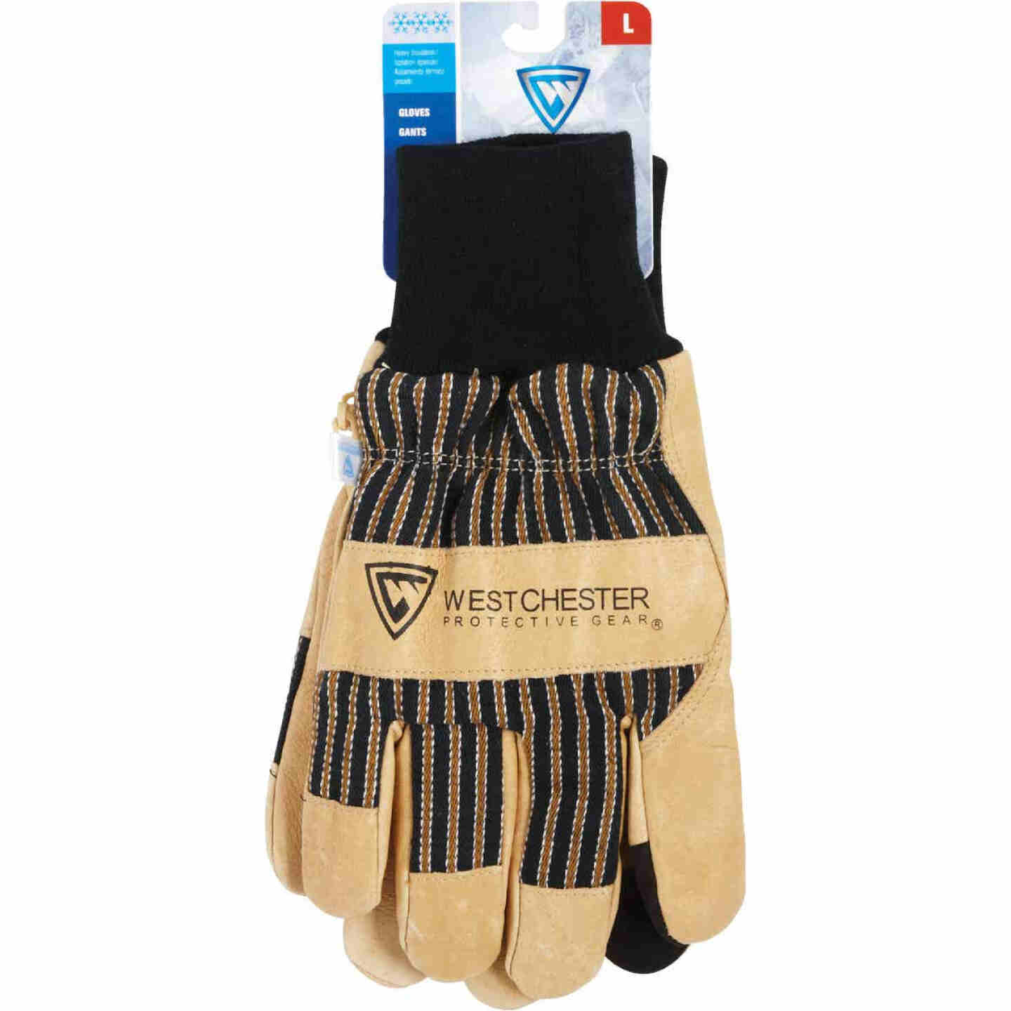 West Chester Men's Large Pigskin Leather Winter Glove with Knit Wrist Image 2